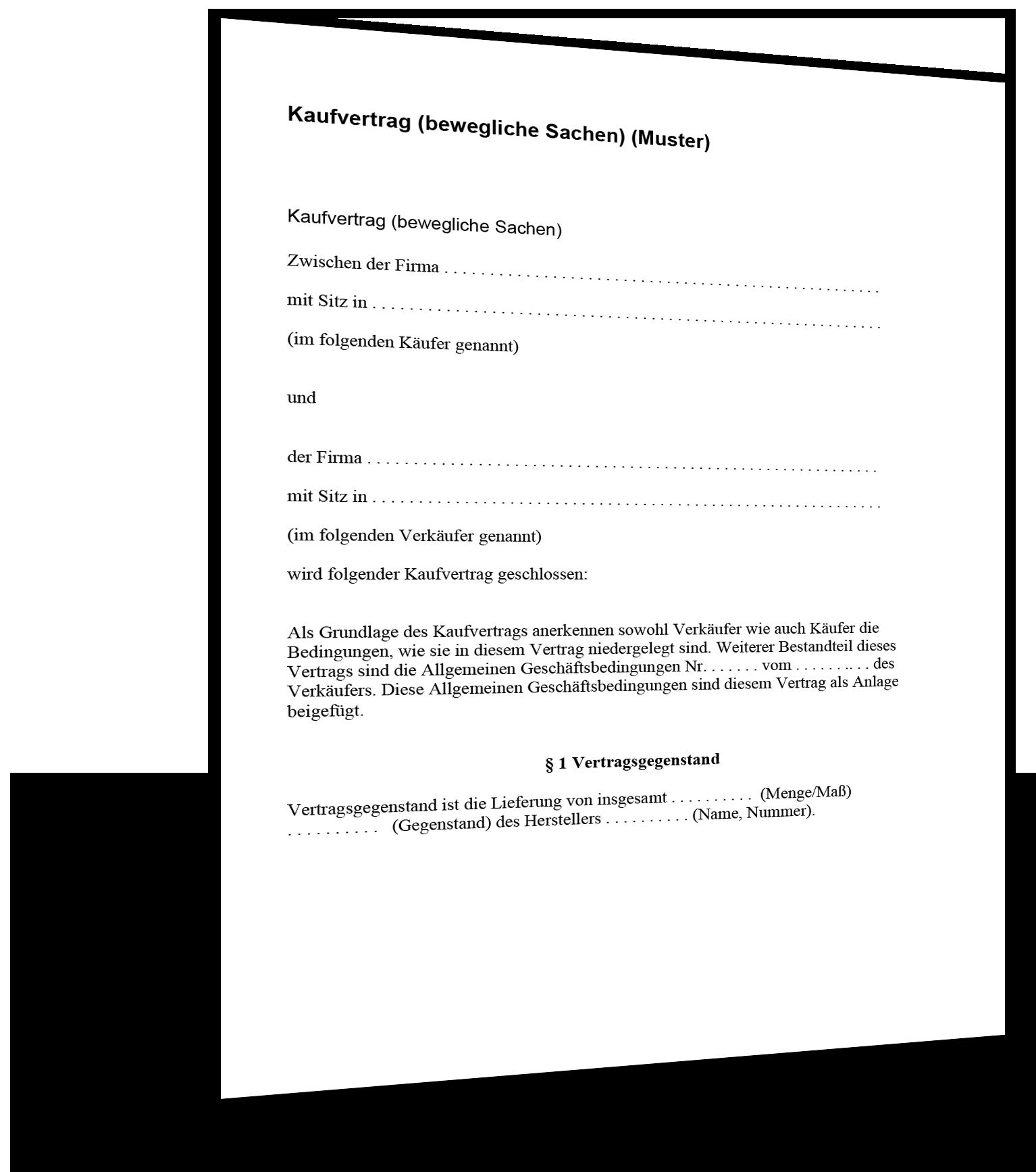 Allgemeiner Kaufvertrag - Kaufvertrag Muster