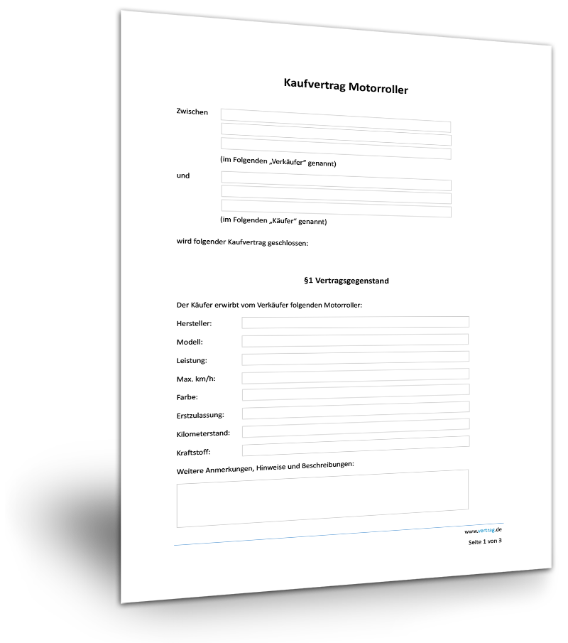 Kaufvertrag Motorrad Fur Privat Muster Vorlage Kostenlos 12